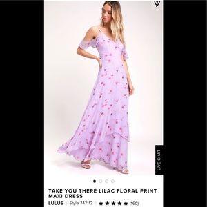 NEW Lulu's floral cold shoulder maxi dress